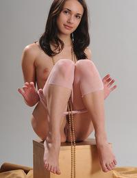 Ilona B: Candido by Goncharov - Crotchless leggings baring scrumptiously pettite labia and sexy feminine feet.