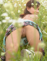 Wonderful model with large nipples and a petite body plays in the flower fields. - Ksena A - Ksich