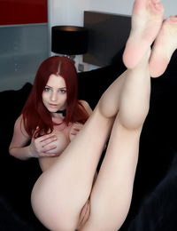 Redhead with fire in her soul shows her amazing assets from her breasts to her toes. - Ariel A - Forward