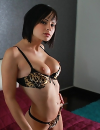 """""""Wearing an animal print nightie and matching tiger print bra and panty, Abbie exudes the perfect combination of kittenish and sultry as she pose"""
