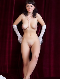 """""""Mireille's charming, alluring beauty, voluptous body, and large, puffy breasts makes a breathtaking view as she sensually strips with wide"""